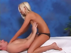 Round tit blonde mollycoddle gets off sucking together with fucking a huge dick