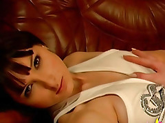 Hot brunette with reared young boobies masturbates pussy