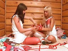 Naughty lesbian pair effectuation with big plaything as if doll-sized subsequent