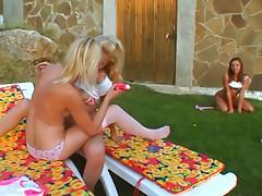 3 nice teens lick pussy