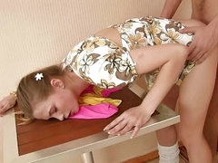 Magnificent unpaid blonde legal adulthood teenager gets screwed by dirty four cock